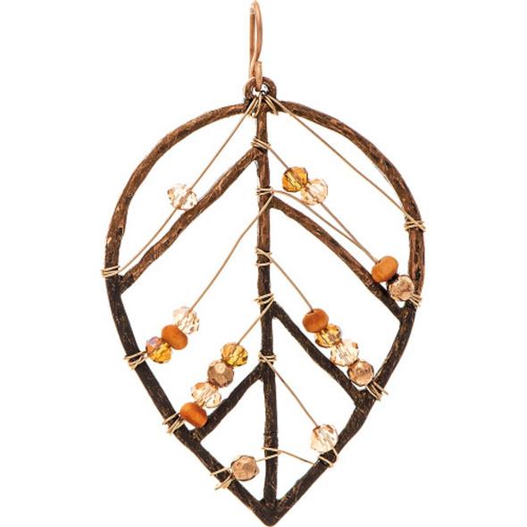 Copper Natural Beaded Leaf Earrings