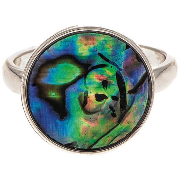 Silver Abalone Shell Circle Ring
