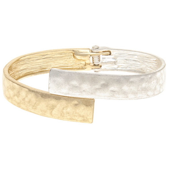 Hammered Finish Silver and Gold Bypass Bracelet