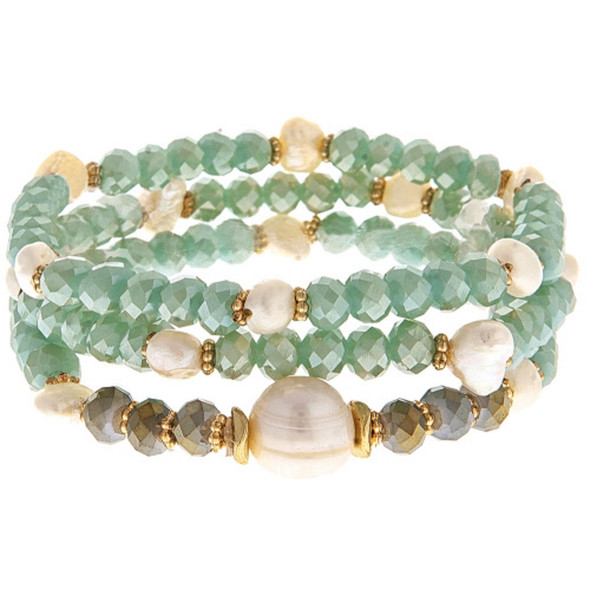Seaglass and Pearl Multistrand Stretch Bracelet