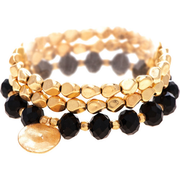 Matte Gold and Black Stacking Beaded Stretch Bracelet