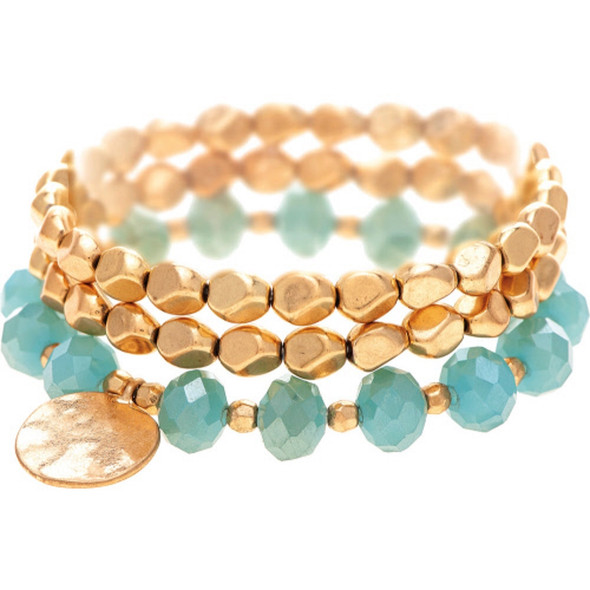 Mint Green and Black Stacking Beaded Stretch Bracelet