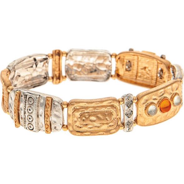 Multi Metal Geometric Bricks Bracelet
