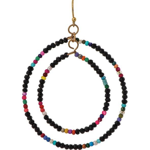 Gold Black Multicolor Seed Bead Hoop Earrings