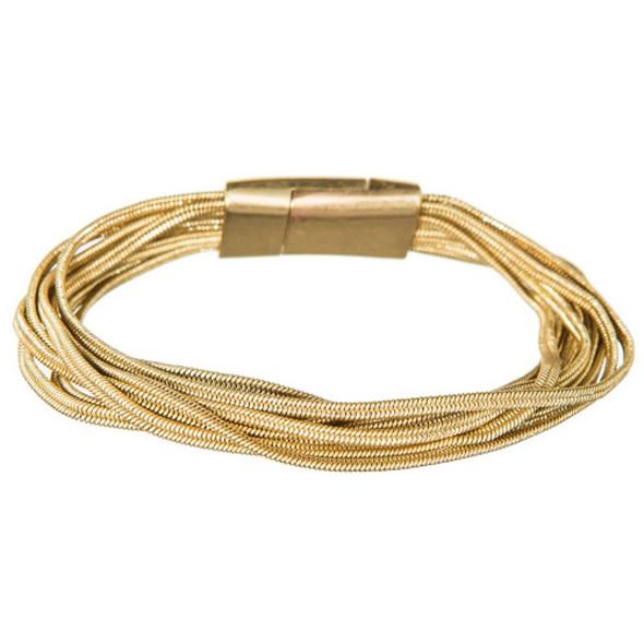 Gold Multistrand Herringbone Magnetic Bracelet