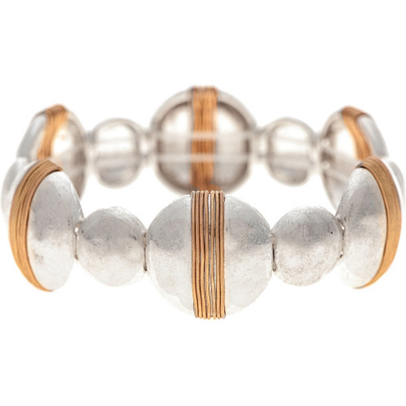 Silver Circles With Gold Wrapped Wire Bracelet