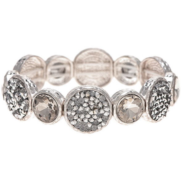Crystal and Pave Matte Silver Circle Bracelet