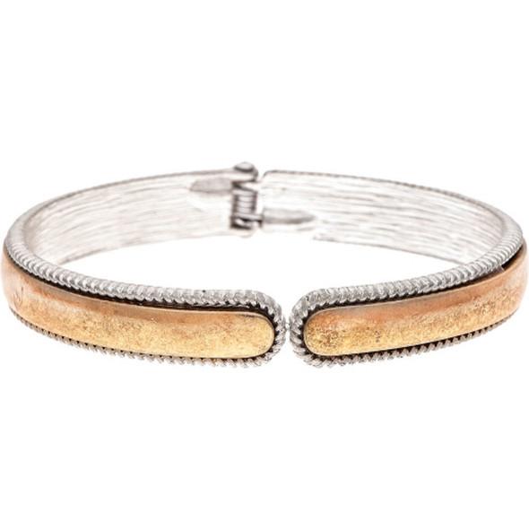 Gold Deckle Edge Hinge Cuff Bracelet