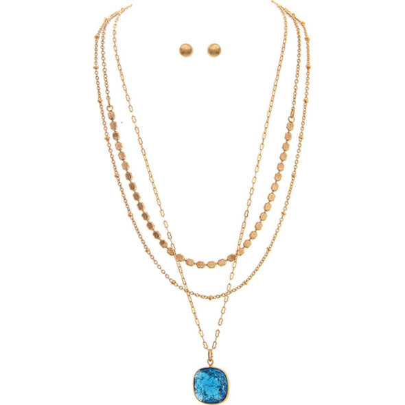 Gold Layered Chain Necklace Set With Blue Gem Pendant