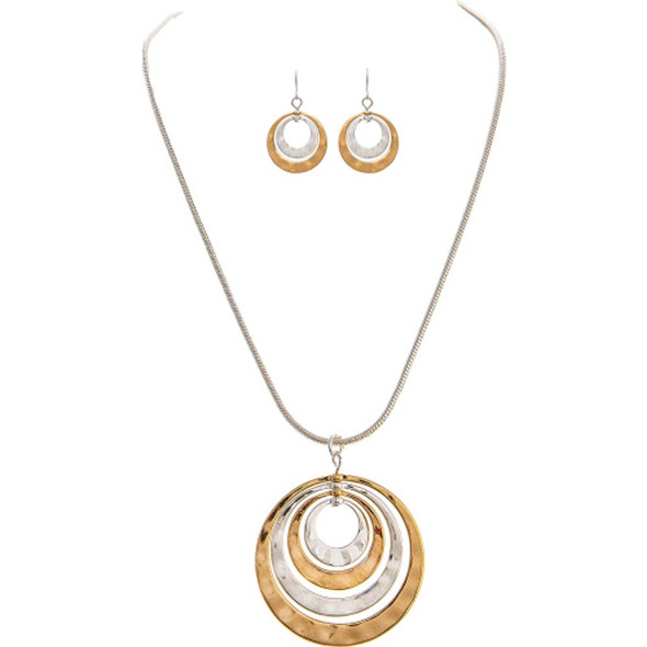 Alternating Circles Necklace Earrings Set