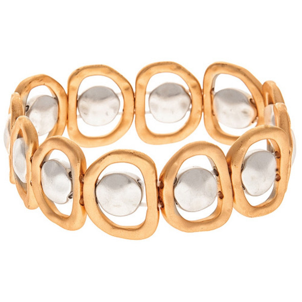 Dual Circle Stretch Bracelet Gold and Silver