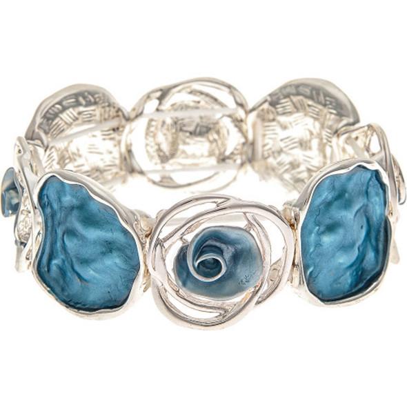 Silver Blue Flower Discs Bracelet
