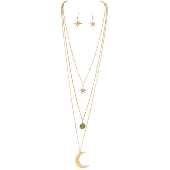 GThree Layer Moon Star Necklace Set