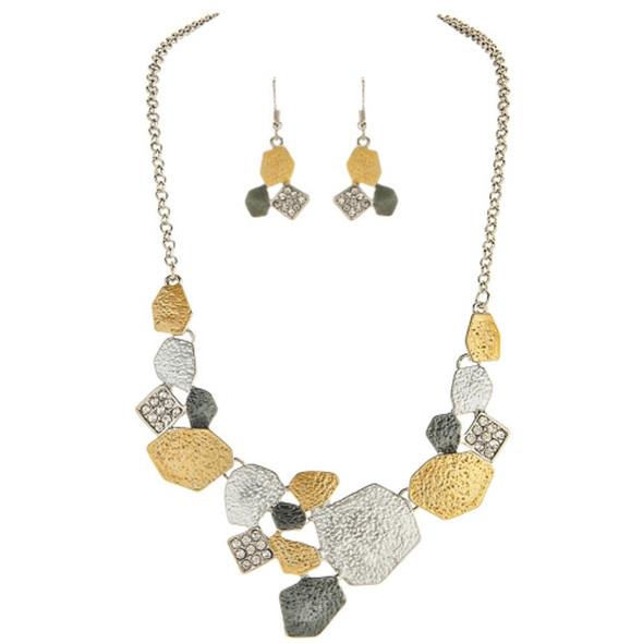 Cool Tones Metal Geometric Necklace Set