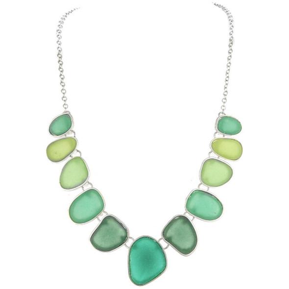Silver Blue Faux Sea Glass Necklace Set