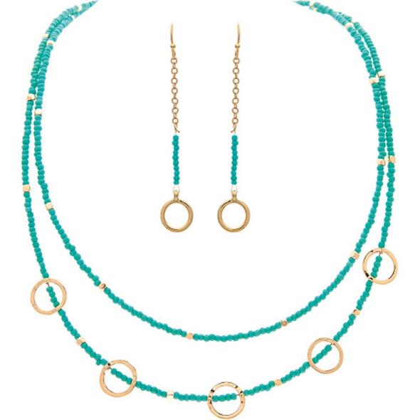 Gold Aqua Bead Circles Necklace Earrings Set