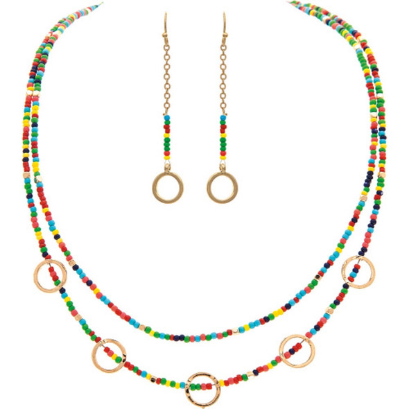 Gold Multicolored Bead Circles Necklace Earrings Set