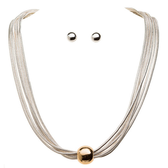 Silver Chains Large Gold ball Necklace
