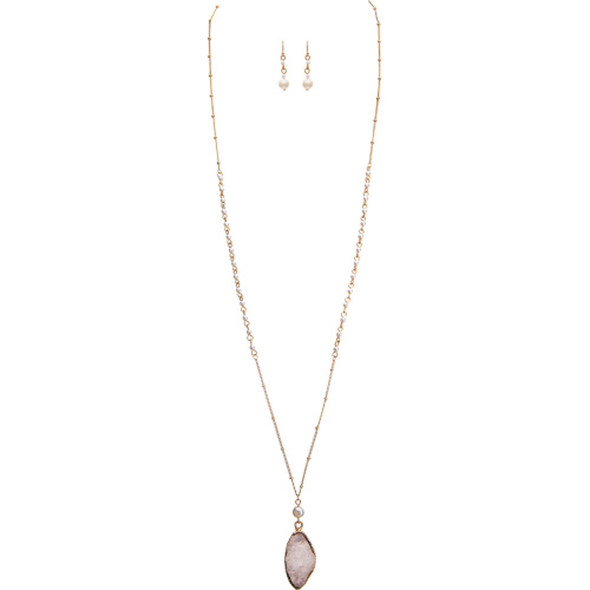 Gold Natural Druzy Long Necklace