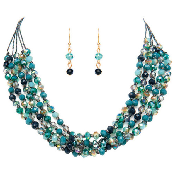 Blue Bead Cord Layer Necklace Set