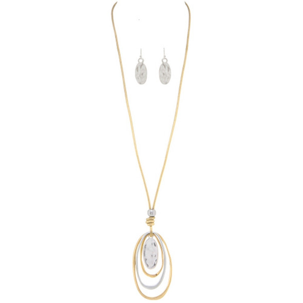 Gold Cord loopy Oval Two Tone Necklace Set