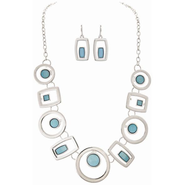 Silver Blue Square Circles Necklace Set