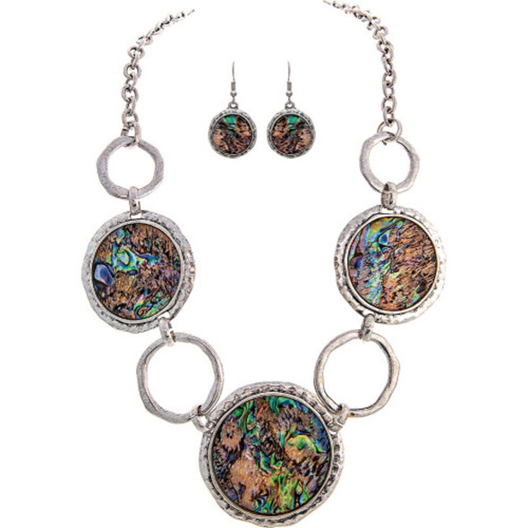 Silver Abalone Circles Statement Necklace Earrings Set