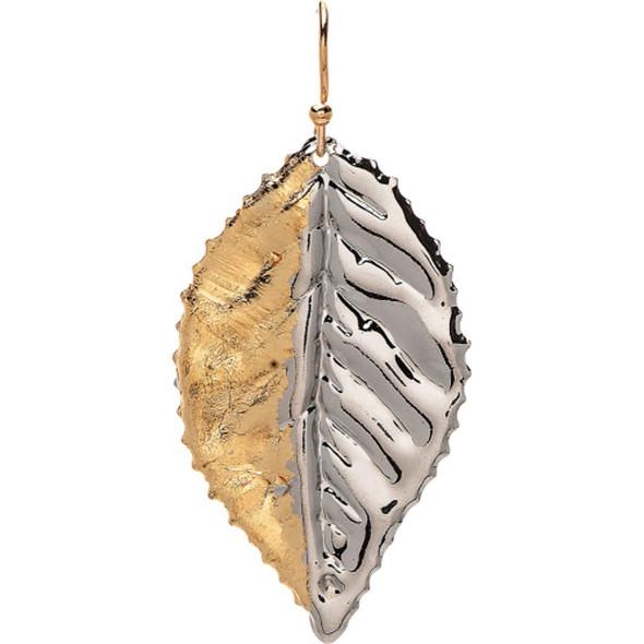 Silver Gold Half Leaf Earrings