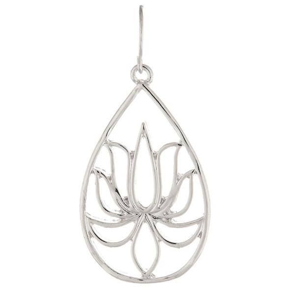 Silver Lotus Flower Teardrop Earrings