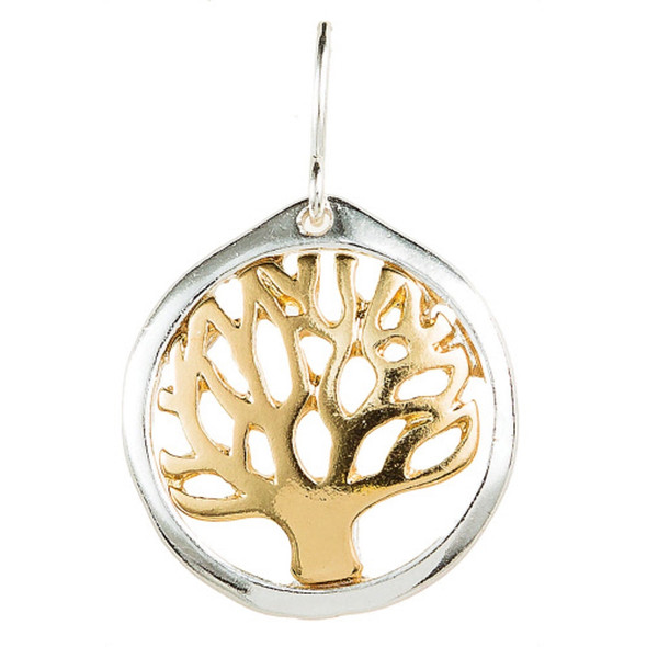 Silver Edged Gold Tree of Life Earrings