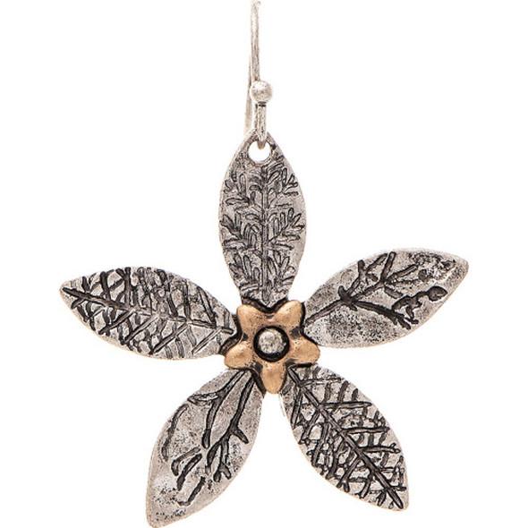 Silver Imprinted Leaves Flower Earrings