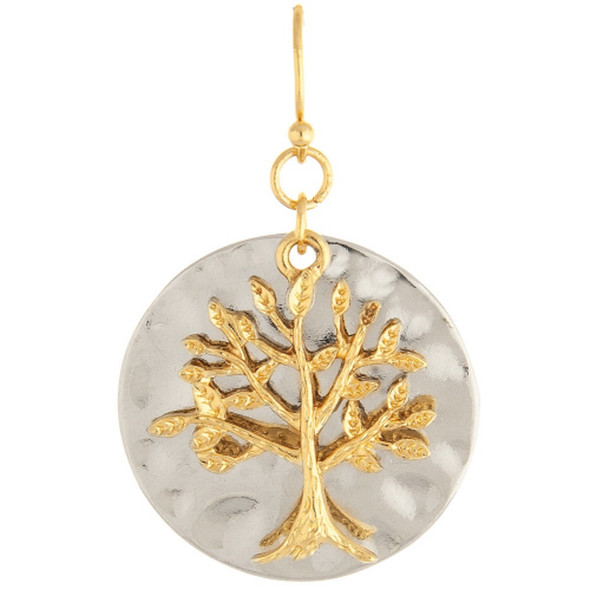 Silver Tree Over Circle Earrings