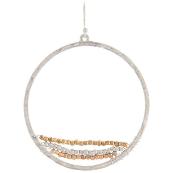 Silver Hoop With Multi Bead Strands Earrings