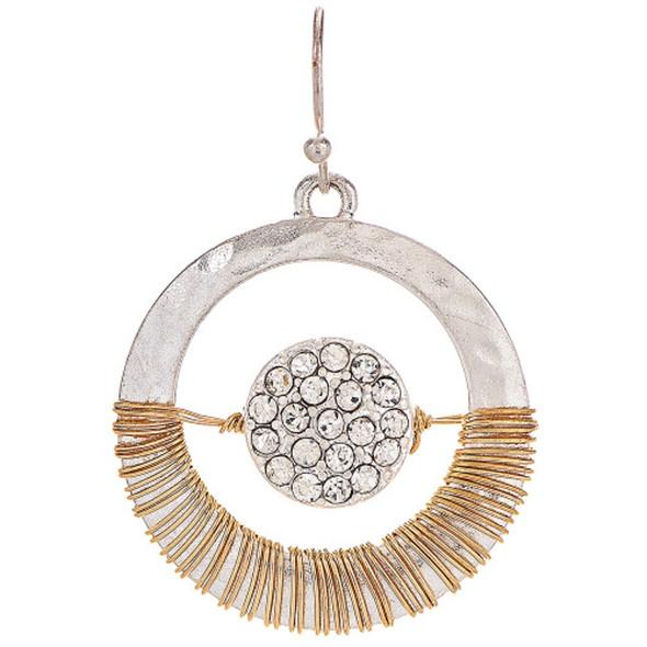 Two Tone Crystal Orbit Wire Wrap Earrings