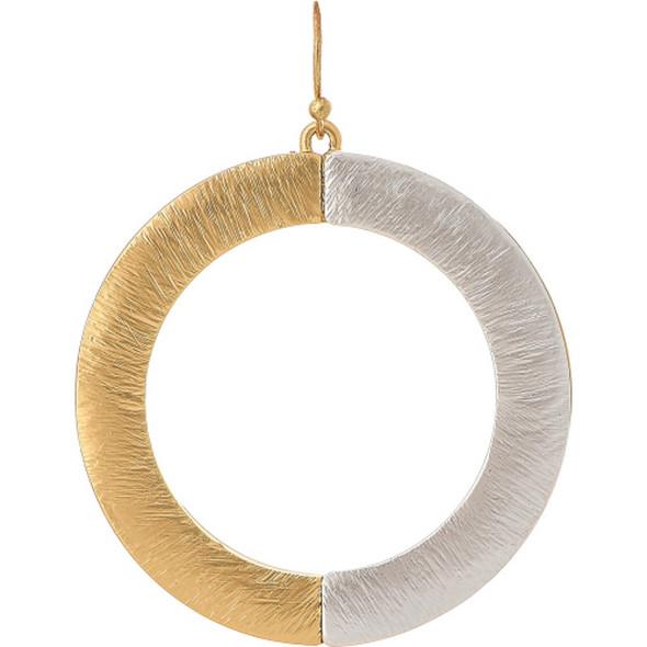 Two Tone Full Circle Eclipse Earrings