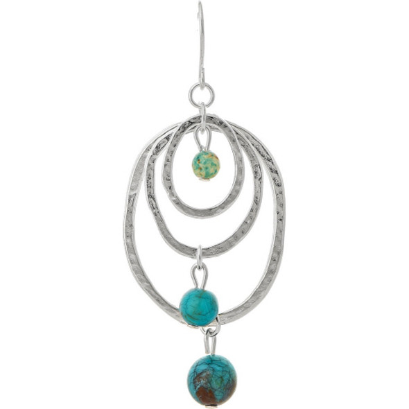 Silver Turquoise Triple Circle Earrings