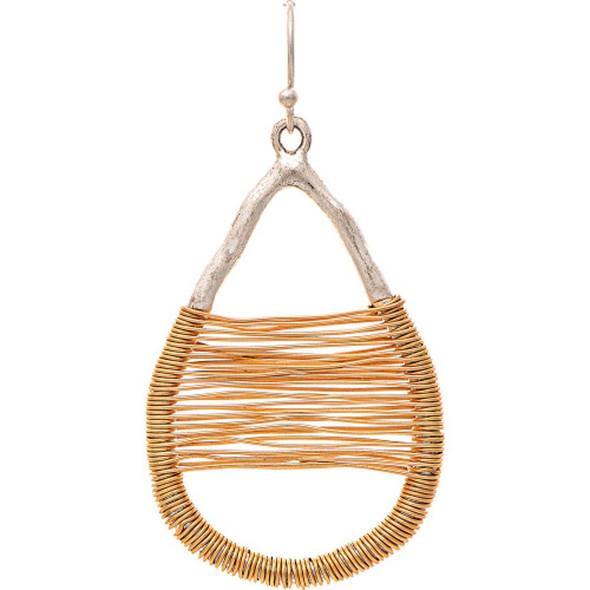 Silver Gold Wire Wrap Teardrop Earrings