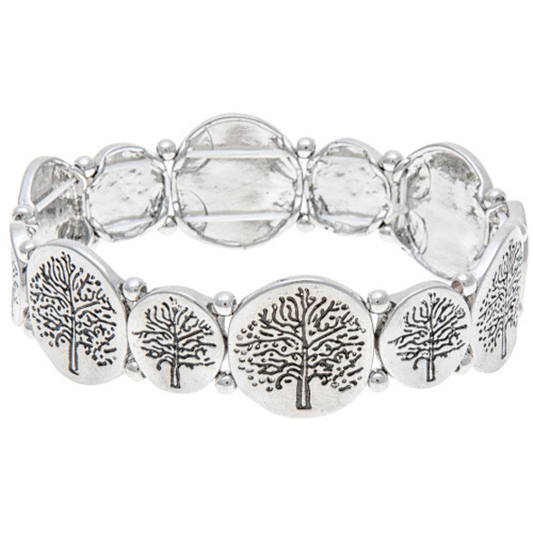 Silver Tree Disc Bracelet