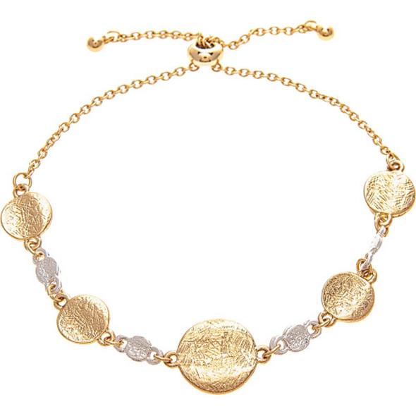 Textured Gold Disc Slider Bracelet