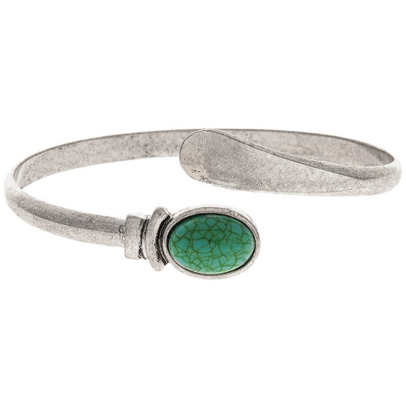 Silver Turquoise Bypass Cuff Bracelet