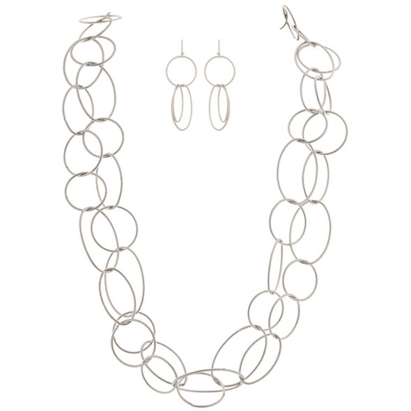 Silver Frosted Ovals Metal Necklace Earrings Set