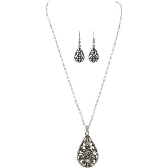 Silver Estate Filigree Teardrop Necklace Set