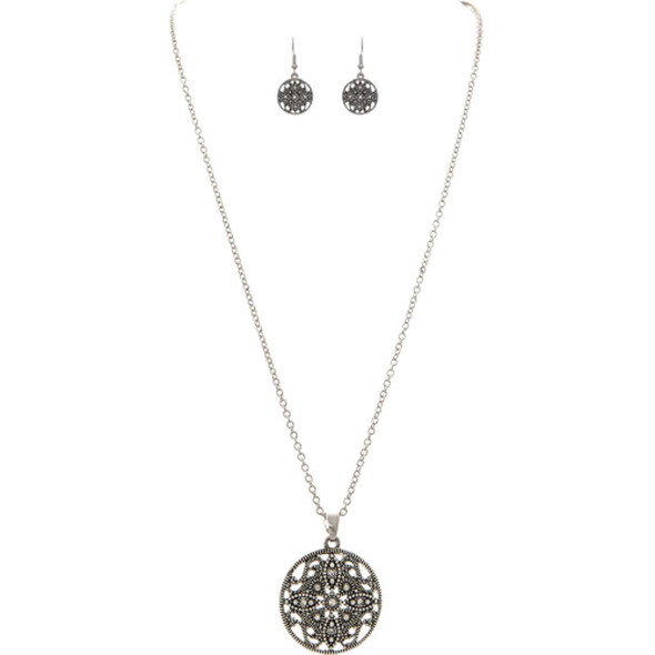 Silver Estate Filigree Circle Necklace Set