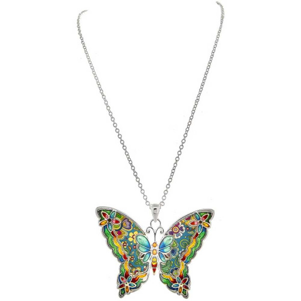 Silver Multicolored Cloissone Butterfly Necklace Necklaces The Nut House