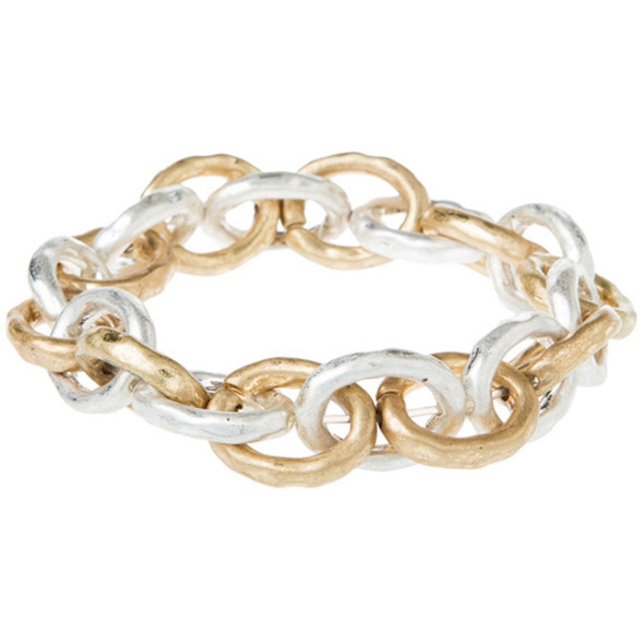 Two Tone Thick Chain Link Bracelet