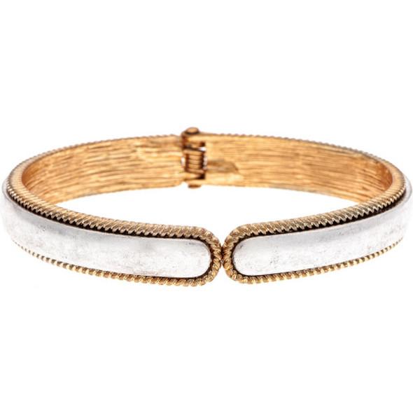 Silver Deckle Edge Hinge Cuff Bracelet