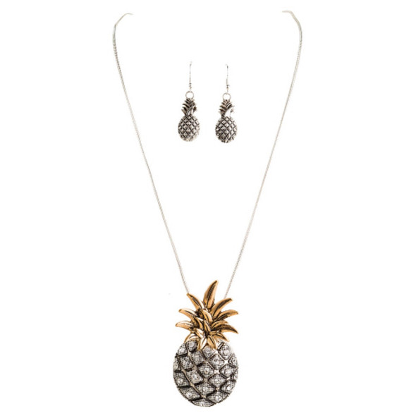 Two Tone Pineapple Necklace