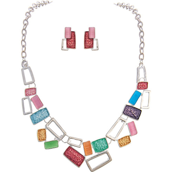 Silver Pastel Rectangles Necklace Earrings Set