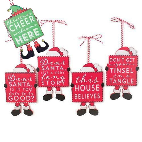 "Sturdy wooden tags with peppermint striped hanging cords and die-cut feet and hats- looks like Santa or elves are holding signs with fun holiday-themed messages. Randomly assorted set of three will include three different sayings. Possible messages include, ""Dear Santa, It's a Long Story"", ""Christmas Cheer Welcome Here"" ""Don't Get Your Tinsel in a Tangle"" ""Dear Santa, Is It Too Late To Be Good?"" ""This House Believes"" Super cute on either a tree or a gift basket or bag. Ornament is 5"" long with 4"" cord for hanging."