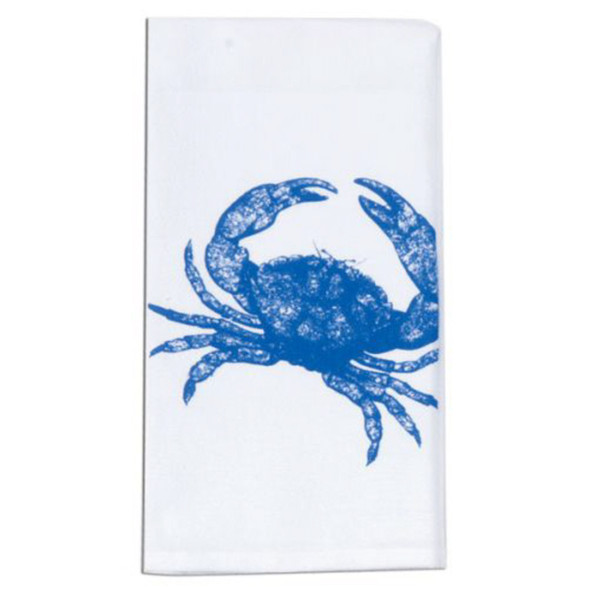 Blue Crab Print Embroidered Flour Sack Towel
